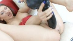 Brunette Bang's Her Pussy Like Crazy With A Huge Black Brutal Toy In HD