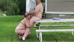 Picnic Table Blow-Job – Husband Gives Wife Huge Facial – Outdoor HD