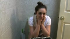 Taking A Shit In Her Cute Toilet