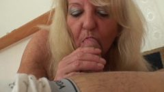70 Years Old Slim Granny In Fishnets Riding